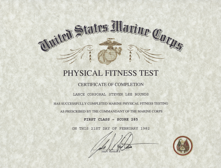 Physical fitness army physical fitness award for Certificate of commendation usmc template