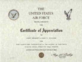 air force certificate of appreciation
