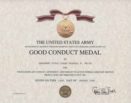 navy good conduct certificate sample gallery