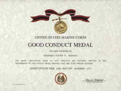 USMC Good Conduct Medal Replacement Certificate